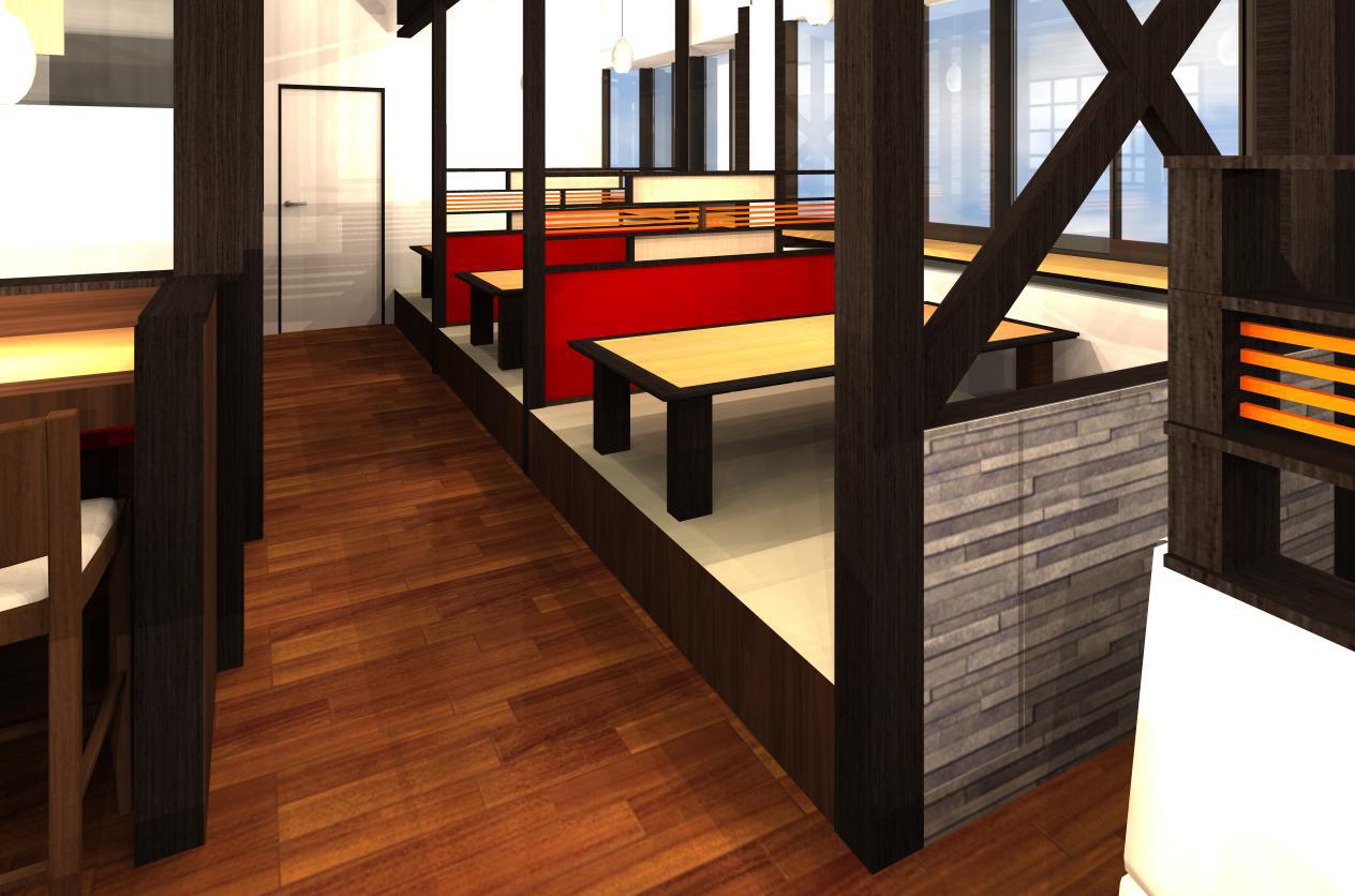 2015-01-29 麺屋 壱力様-2 【3Dパース提案】(津島店) 2.3D座敷
