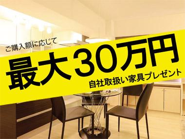 ご購入に応じて最大30万円自社取扱家具プレゼント